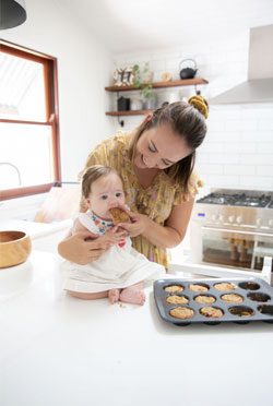 Baby eating in the kitchen